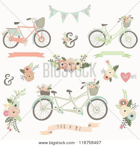 Vintage Hand Drawn Floral Bike