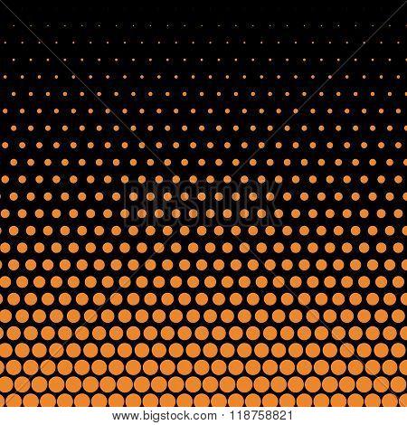 Cadmium orange polka dot on black background