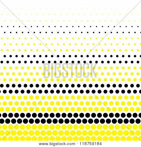 Cadmium yellow and black polka dot on white background