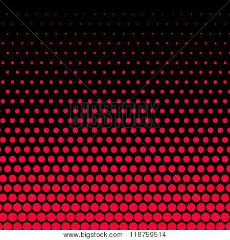 Carmine red polka dot on black background