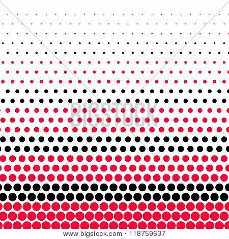 Carmine red and black polka dot on white background