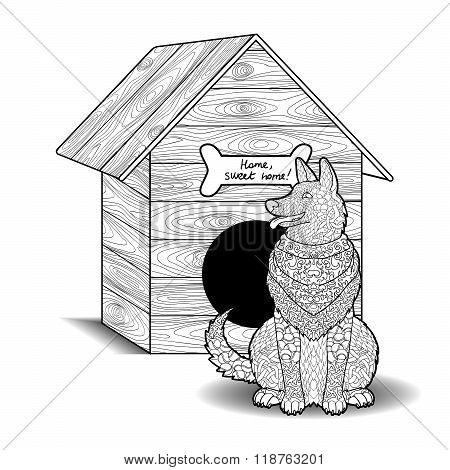 Happy dog sits in front of the doghouse.