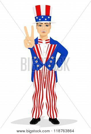 handsome man dressed up like Uncle Sam