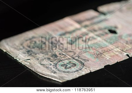 Obsolete Banknote In Twenty-five Russian Rubles Close Up
