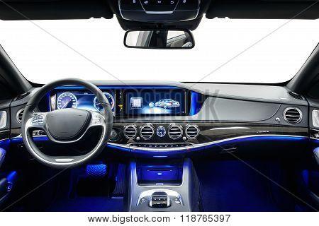 Car interior dashboard & steering wheel