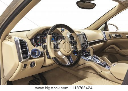 Car luxury steering wheel, dashboard & climate control