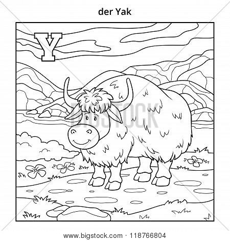 German Alphabet, Letter Y (yak And Background)