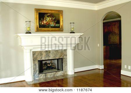 Fireplace Adorns Living Room