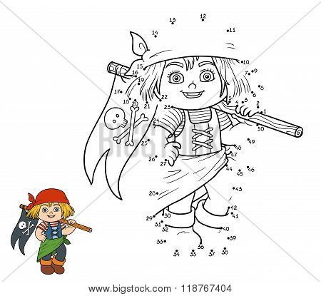 Numbers Game For Children (pirate Girl And Flag)