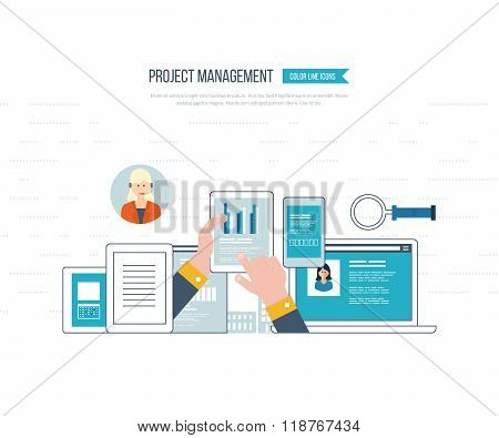Concept for business analysis, investment, consulting, strategy planning, project management