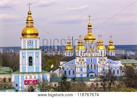 Saint Michael Monastery Cathedral Spires Tower Kiev Ukraine