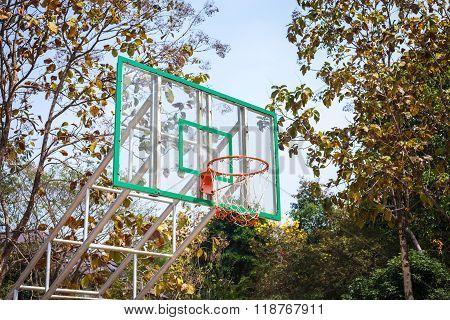 Basketball hoop on the nature at Mae Fah Luang University , Chiang-Rai Thailand