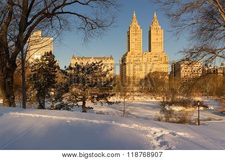 Winter Sunrise On Central Park And Upper West Side, NYC