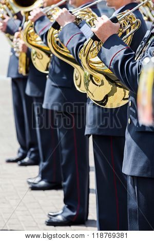 Military Brass Band Musicians With French Horns