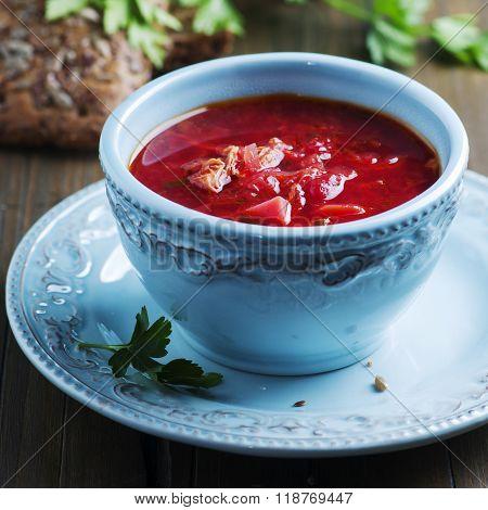 Traditional Russian Beetroot Soup With Parsley