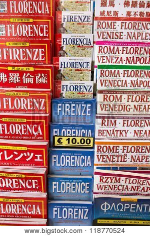 Florence, Italy - September 16, 2015: Florence maps and guidebooks for sale in Florence, Italy