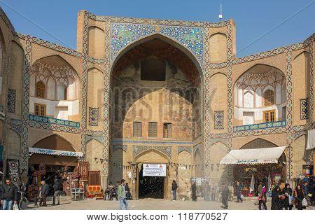 Isfahan, Iran - December 13, 2015: Qeysarieh Portal, main entrance to market (Bazaar) in Isfahan, Iran.