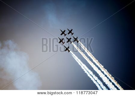 Avia show in blue sky, goog day for avia