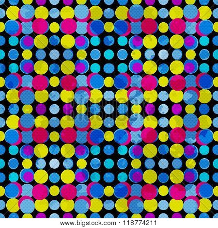 Psychedelic Circles On A Black Background. Grunge Effect. Vector Illustration.