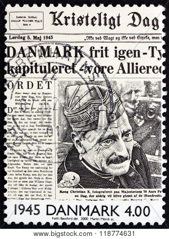 DENMARK - CIRCA 2000: a stamp printed in Denmark shows Liberation of Denmark on Front Page of Newspaper 1945 circa 2000
