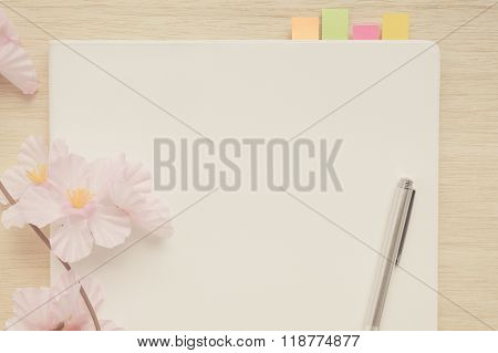 Cover Of White Notebook In Vintage Tone