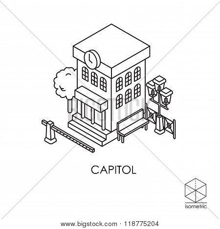Isometric Vector Icon City Hall