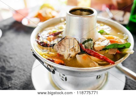 Tom Yum Fish Spicy Soup With Fresh Water Fish, Thai Food.