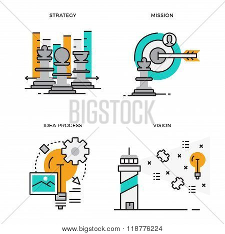 Flat line design vector illustration concept of Strategy, Mission, Idea Process, Vision, Business Ma