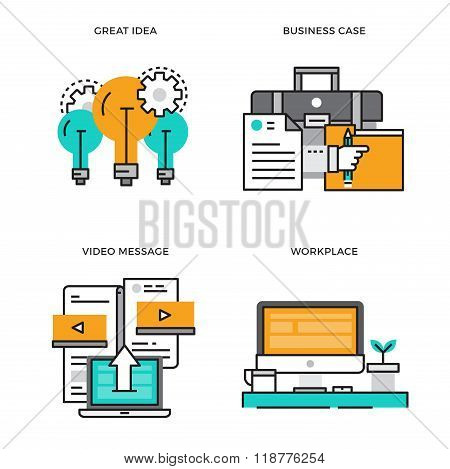 Flat line design vector illustration concept of Great Idea, Business Case, Video Message, Workplace,
