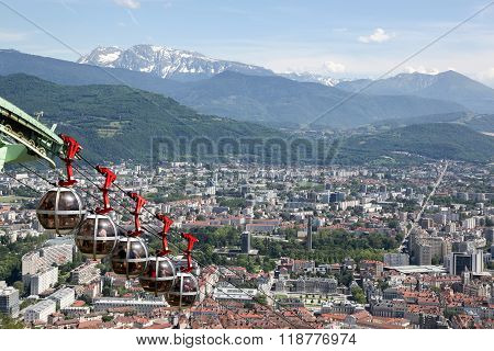 View of Grenoble from the Bastille fortress, France