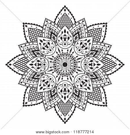 Black And White Circular Mandala