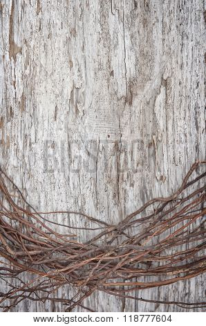 Old Wooden Background With Dry Branches