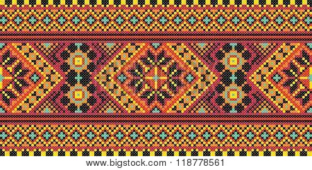 Embroidered good like old handmade cross-stitch ethnic Ukraine pattern. Traditional Ukrainian folk art pattern - vyshyvanka called. Hutsul colors