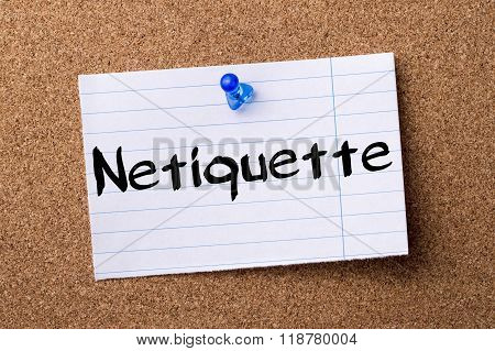 Netiquette - Teared Note Paper Pinned On Bulletin Board