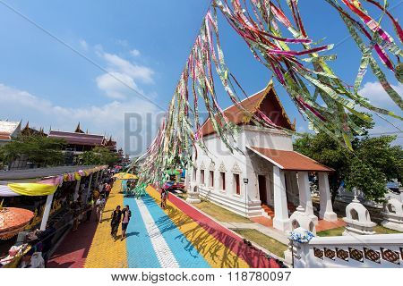 People Visit Wat Ku In Nonthaburi