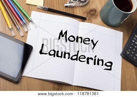 Money Laundering - Note Pad With Text