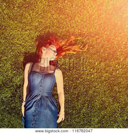 sleeping redhead girl