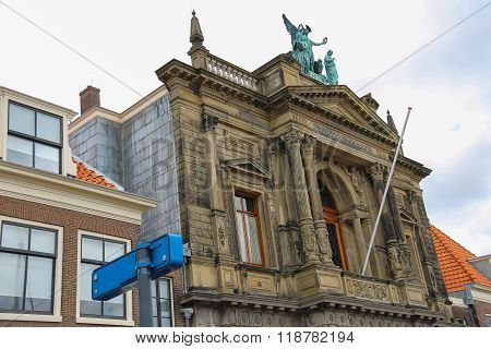 Facade Of Teylers Museum Of Art, Natural History And Science In Haarlem, The Netherlands