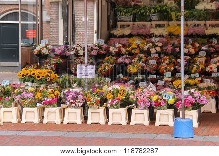 Street Flower Shop With Colourful Bouquets In City Centre. Haarlem, The Netherlands