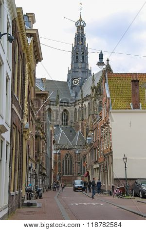 People Near The Grote Kerk (sint-bavokerk) In The Historic Centre Of Haarlem, The Netherlands