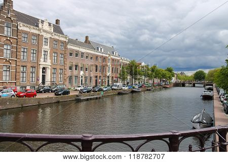 View From The Bridge To The River Canal (nieuwe Gracht) In Haarlem, The Netherlands