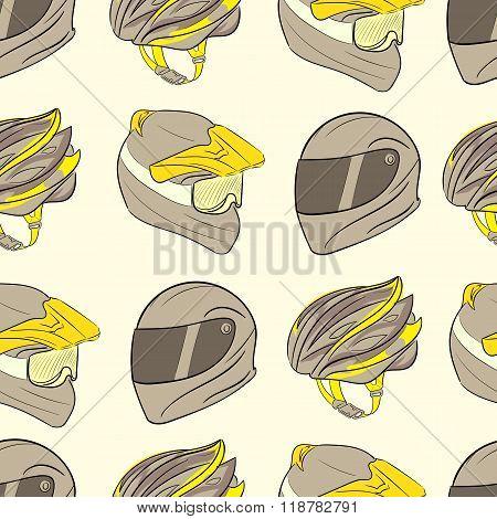 Three seamless motorcycle helmets