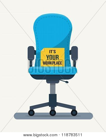 Office workplace chair with quote on paper.