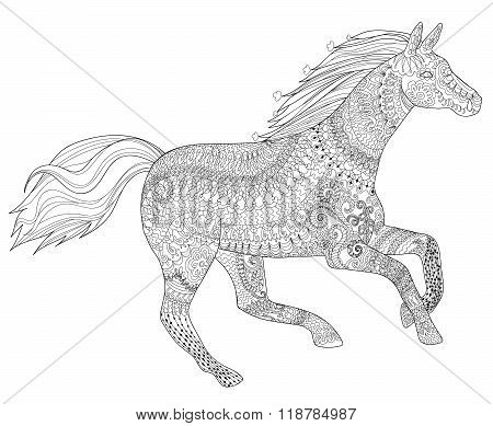 Running horse with high details