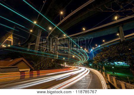 Light Trail On Street Under Bhumibol Bridge