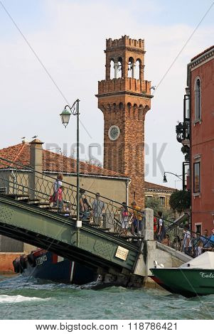 Venice, Italy - September 04, 2012: The Bell Tower Of San Giacomo On Murano Island