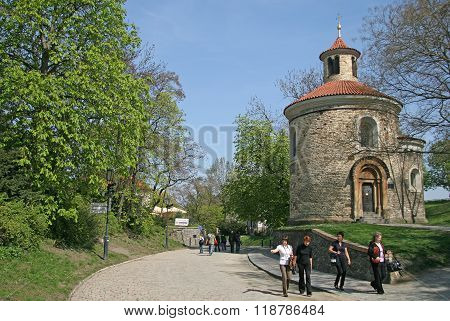 Prague, Czech Republic - April 25, 2010: Oldest Rotunda Of St. Martin In Vysehrad, Prague, Czech Rep