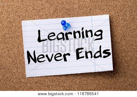 Learning Never Ends  - Teared Note Paper Pinned On Bulletin Board