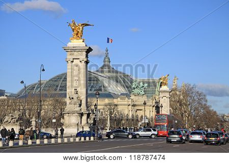 Paris, France -18 December 2011: Grand Palais Des Champs-elysees And Pont Alexandre Lll In Paris, Fr