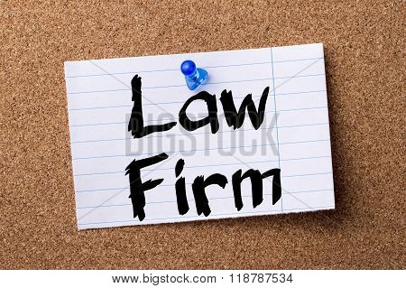 Law Firm - Teared Note Paper Pinned On Bulletin Board